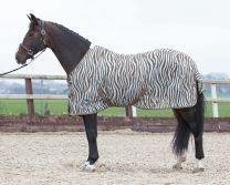 Harry's Horse Vliegendeken mesh standaard met singels, zebra plume