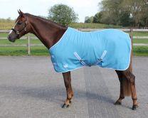 QHP  Deken fleece color met singels Sky 145