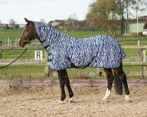 Harry's Horse Vliegendeken mesh met hals & singels, zebra medival blue