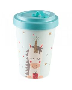 PFIFF Coffee to Go beker 'DREAMING UNICORN' bamboe