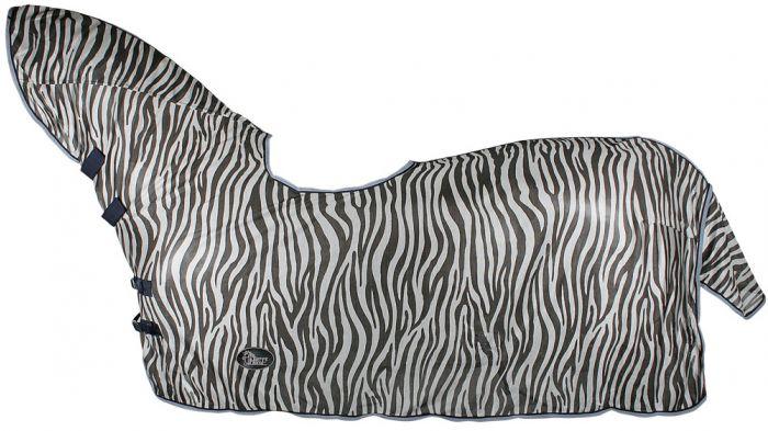 Harry's Horse Vliegendeken mesh, hals en zadeluitsparing, zebra grey