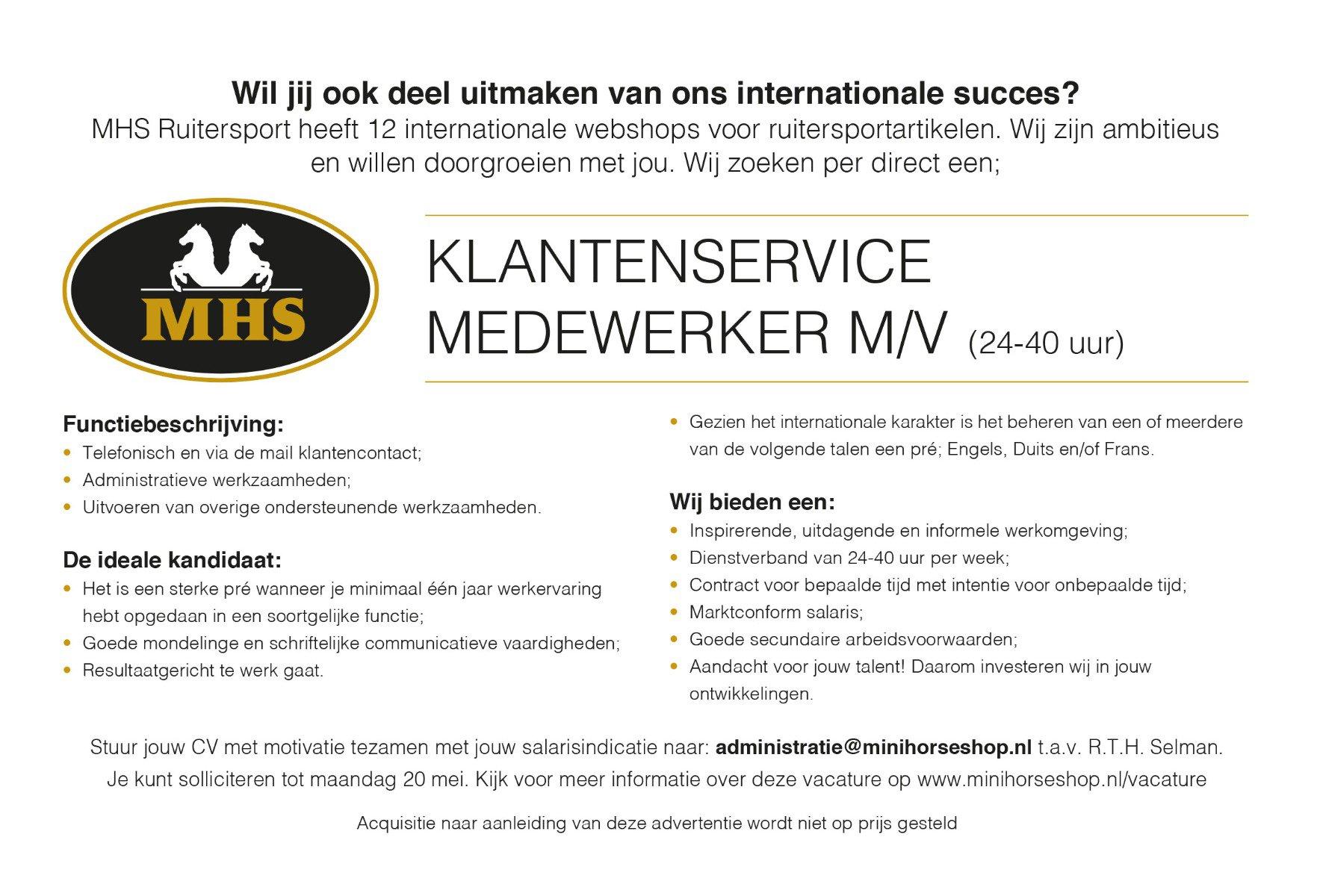 Werken bij MHS Ruitersport